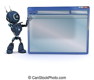 Android with computer window