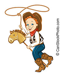 cowboy child with lasso and toy horse.Vector happy boy...
