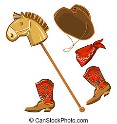 toy horse and cowboy child clothes - Vector toy horse and...