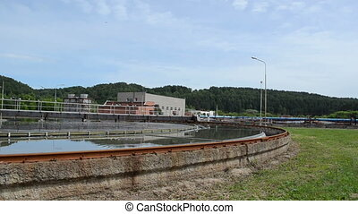 treatment plant pool bird - Panorama of sewage waste water...