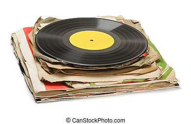 Old records - Stack of old vinyl records isolated on white