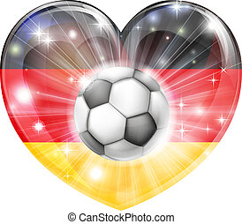 german soccer heart flag - Germany soccer football ball flag...