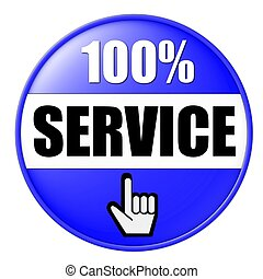 100% service button blue