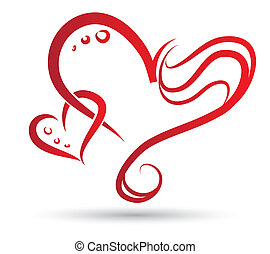 Two Hearts - Tribal drawing of two stylized hearts entangled