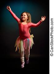 little ballerina girl exercising indoors - little ballerina...
