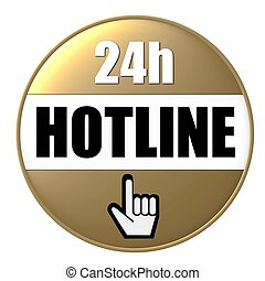 24h hotline button gold