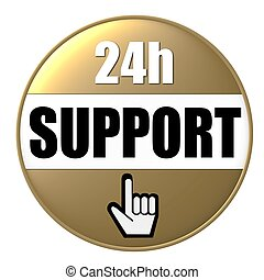 24h support button gold