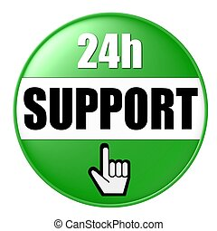 24h support button green
