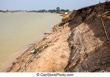 Soil erosion by the river