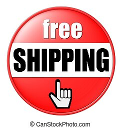 free shipping button red