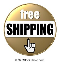 free shipping button gold