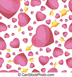 hearts and arrow seamless background.