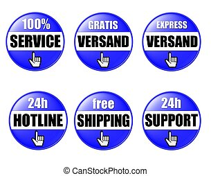 6 blue onlineshop buttons