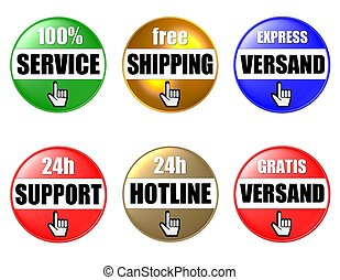 6 colored onlineshop buttons