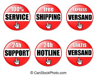 6 red onlineshop buttons