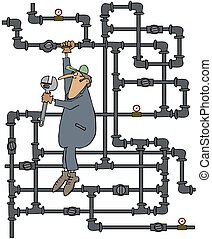 Plumber turning a valve - This illustration depicts a...