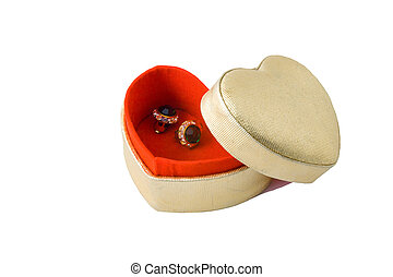 Gift for Valentines day - Heart shaped box with red inlay...