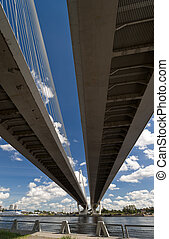 Cable-stayed bridge from below