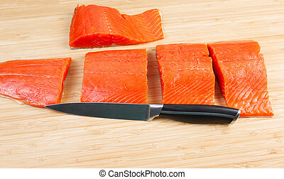 Wild Salmon Cut in Pieces for Cooking - Horizontal photo of...