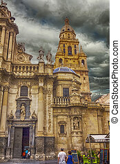 Murcia Cathedral of the year 1465 a day of storm, in Murcia,...