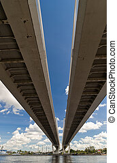 Two strips of way from below