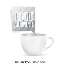 good morning coffee mug illustration design over a white...