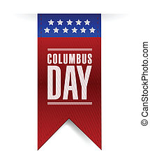 columbus day banner sign illustration design over a white...