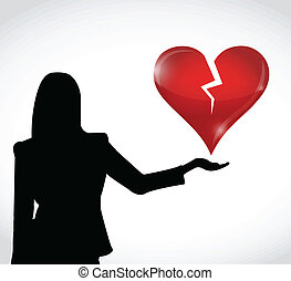 broken heart in hand illustration design over a white...