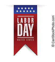 labor day banner sign illustration design over a white...