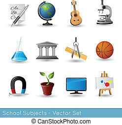 School Subjects Icon Set - Vector Illustration