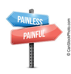 painless and painful sign illustration design over a white...