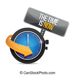 the time is now illustration design over a white background