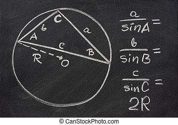 trigonometría, ley, explicado, pizarra