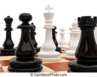Chessboard - High resolution image chess on a white...