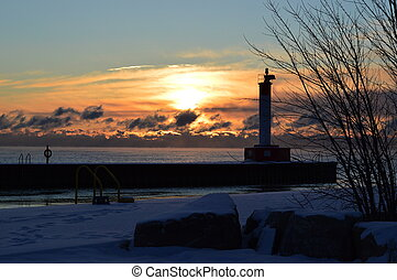 Sunrise in Oakville - Sunrise in winter over Oakville,...