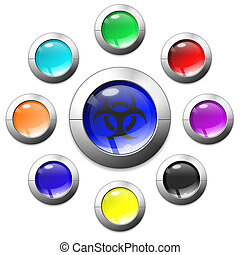 Multi-coloured buttons - High resolution image symbol 3d...
