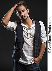 Fashion young man - Studio portrait of a handsome and...