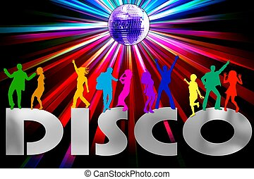 a colorful disco placard