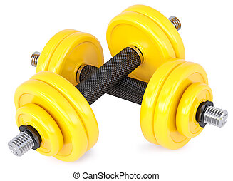 dumbbells - yellow dumbbells on a white background
