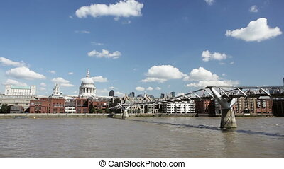 Millenium Bridge and St Pauls - People crossing the...
