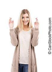 Cross fingers - Beautiful blonde woman smiling and cross...