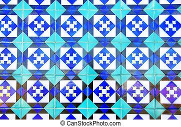 texture of portuguese tiles at a facade in Lisbon