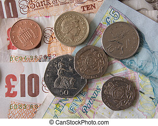 British (uk) currency. - Close up of British currency, notes...