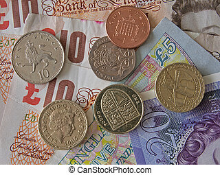 British uk currency - Close up of British currency, notes...