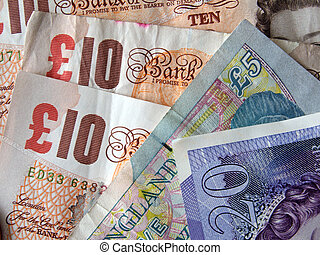 British (uk) currency. - Close up of British currency.