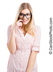 Nerd Girl - Beautiful young woman smiling with a silly face...