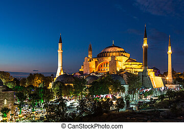 Hagia Sophia in Istanbul Turkey at night - Hagia Sophia, a...