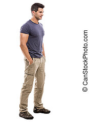 Handsome young man - Handsome latin man, isolated over a...