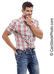 Handsome man smiling - Handsome latin man smiling, isolated...