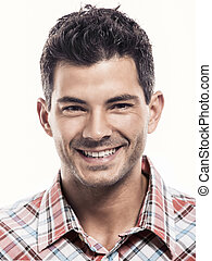 Handsome man smiling - Portrait of a handsome latin man...